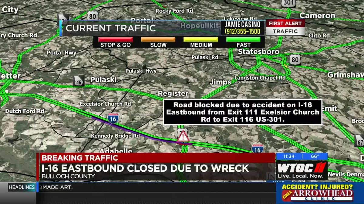I-16 EB closed at Exit 116 due to wreck