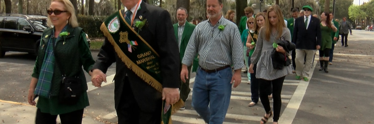 Grand Marshal leads St. Patrick's Day walk through Savannah