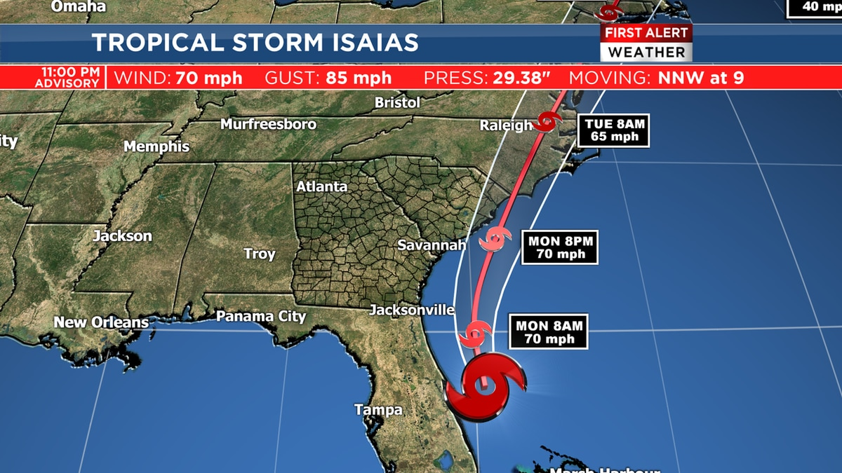 Tropical Storm Warning in effect for coastal counties in Ga., S.C.