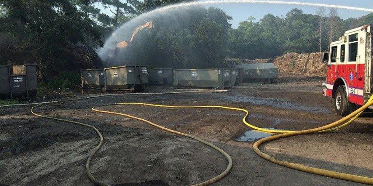 Crews fight smoldering debris fire for several hours in Burton