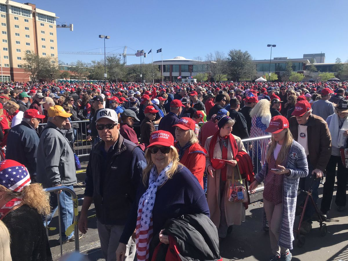 Thousands turn up for President Trump rally at North Charleston Coliseum