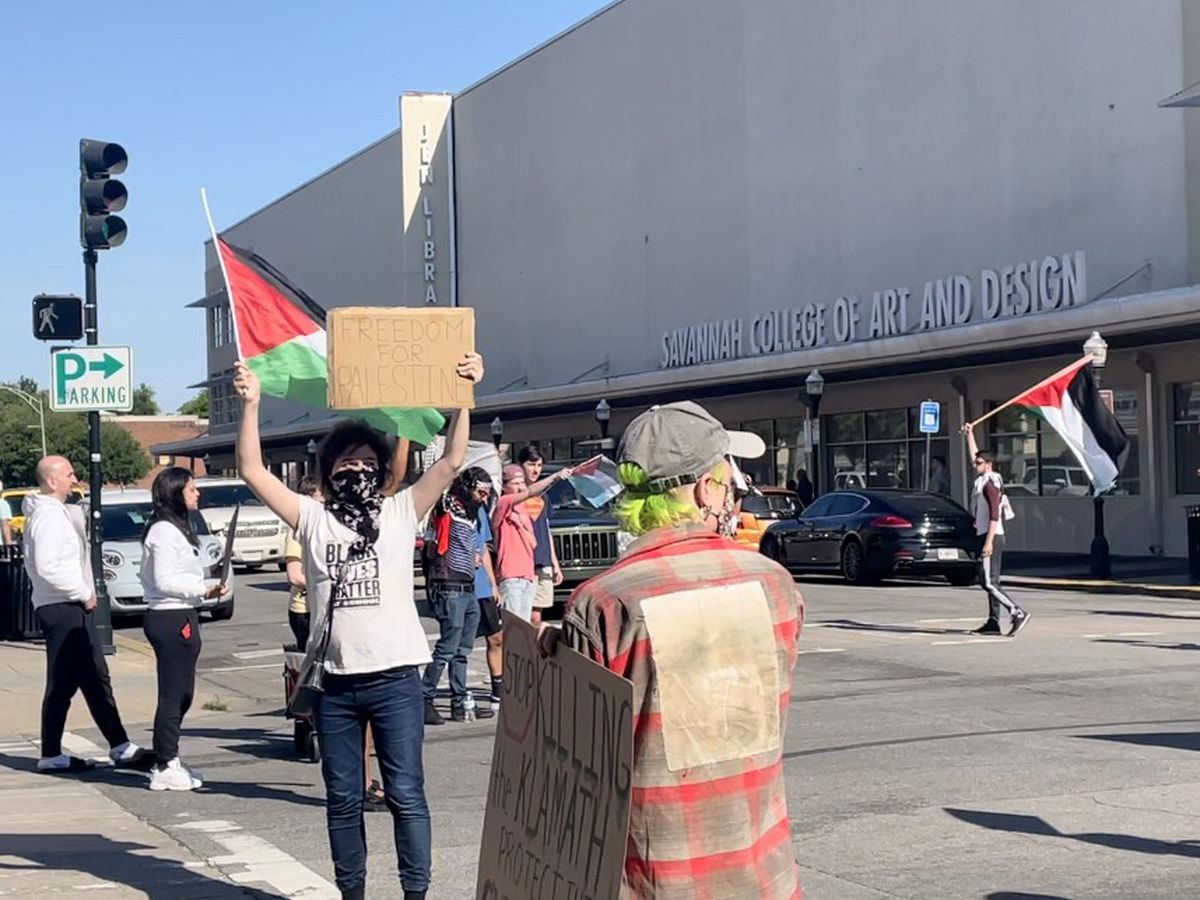 Protestors march through downtown Savannah in reaction to violence in Gaza
