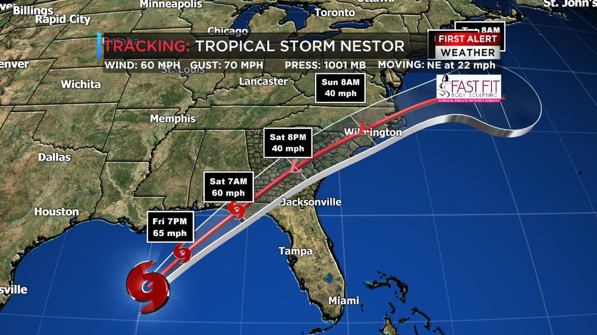 We now have Tropical Storm Nestor: First Alert Weather Day Saturday