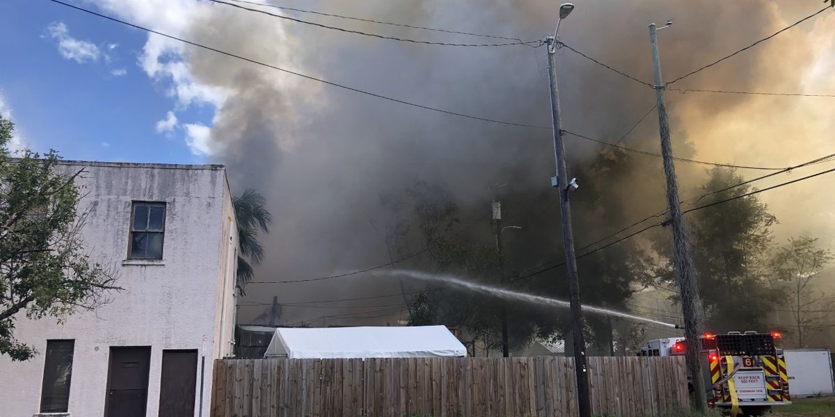 Savannah Fire monitoring for hot spots after large fire in downtown Savannah