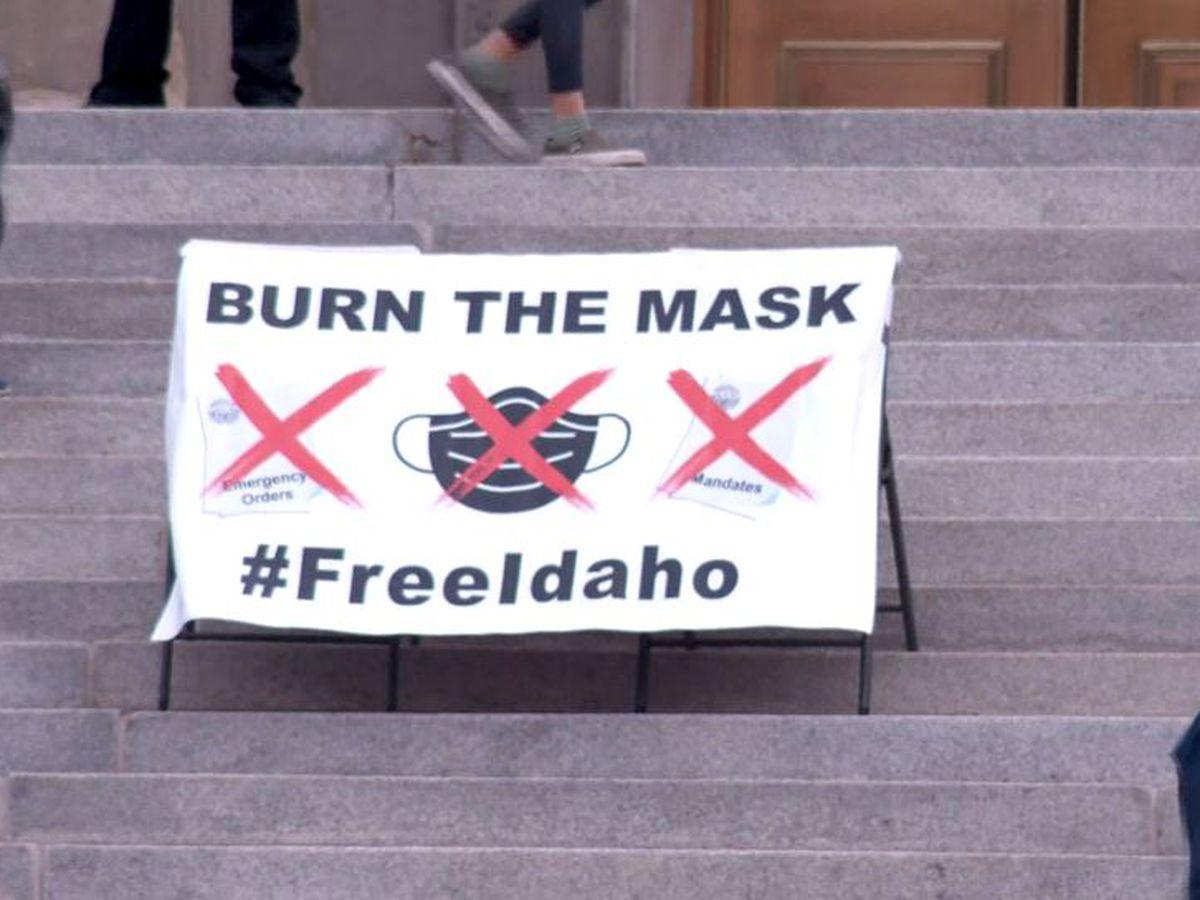 Protesters burn masks at Idaho Capitol rally against COVID-19 rules
