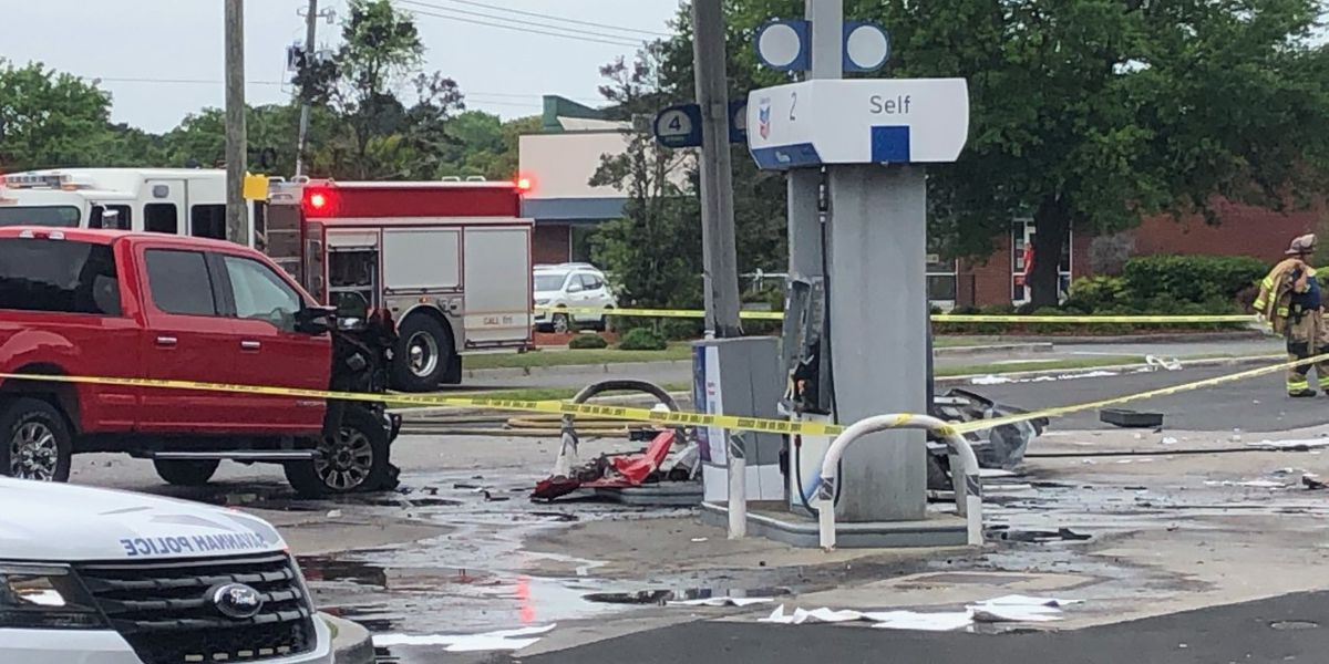 Truck hits gas pump, causes fire at service station on Largo Drive
