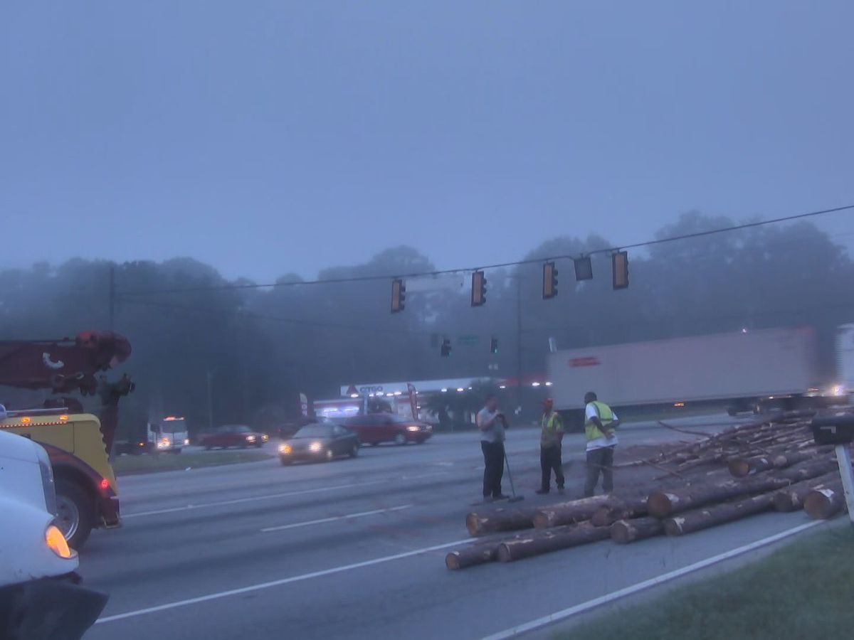 Overturned log truck cleared at Dean Forest Rd, US Hwy 80 intersection