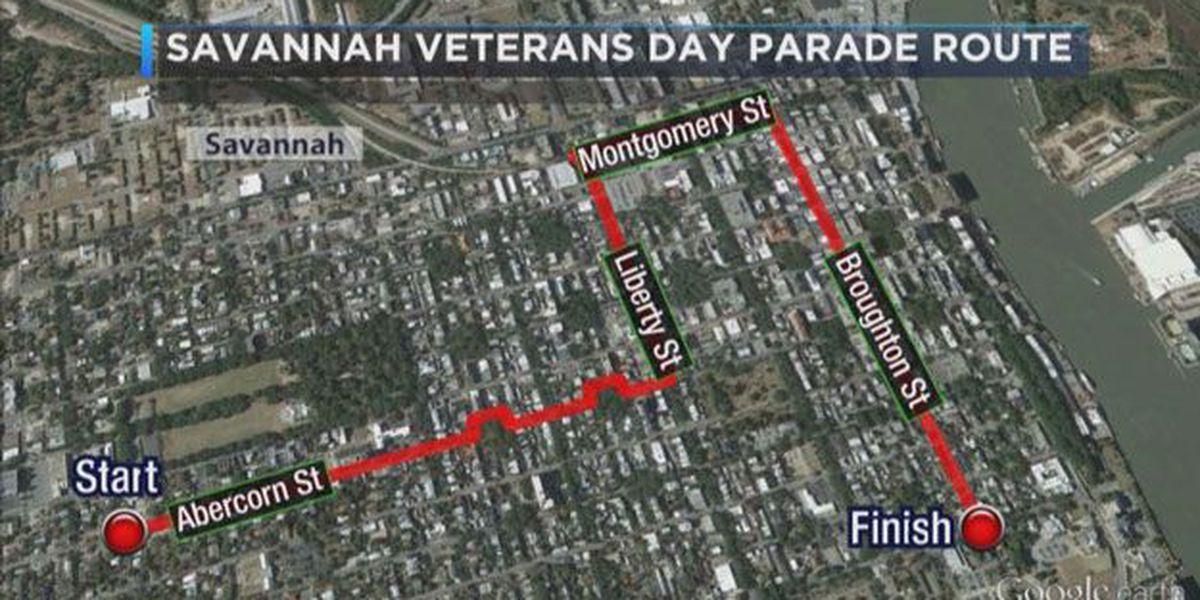 Savannah's Veterans Day Parade route and street closure