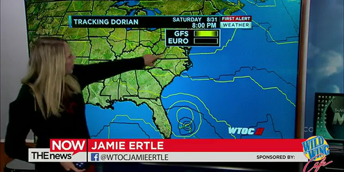 Jamie Ertle is tracking evening showers on radar and has new information on TS Dorian