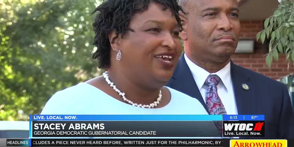 Stacey Abrams campaigning in Savannah