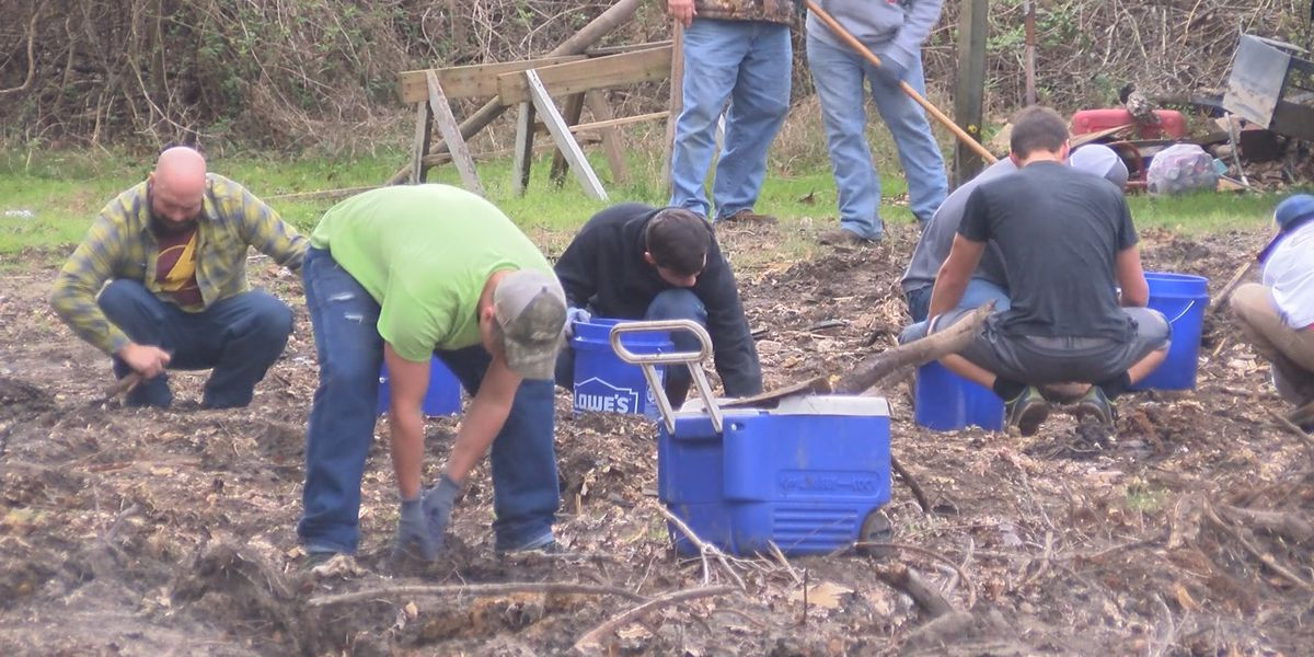 Boy's home helps to clear remains of Tattnall Co. family's house after Hurricane Michael
