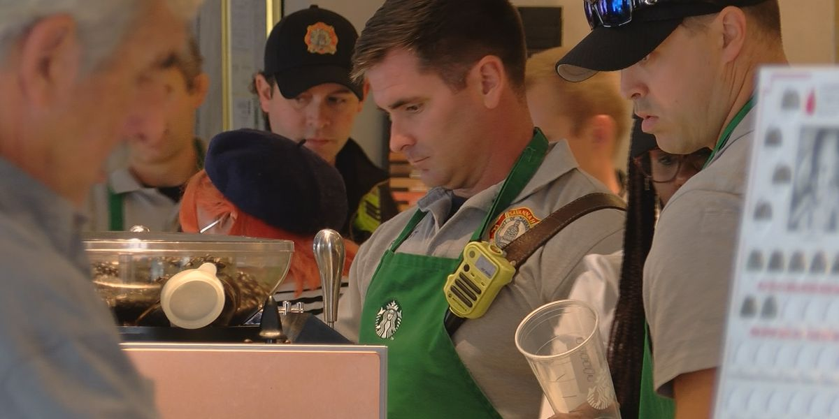 "Broughton Starbucks hosts ""Frappuccino with a Firefighter"""