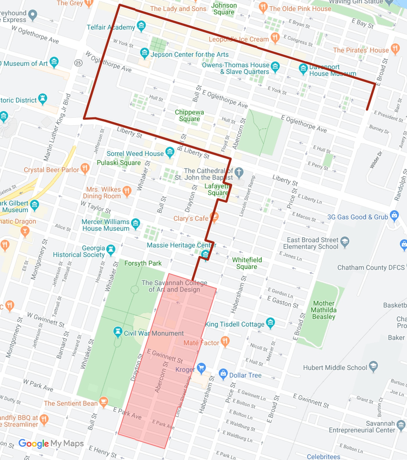 The 2019 Savannah Veterans Day Parade route.