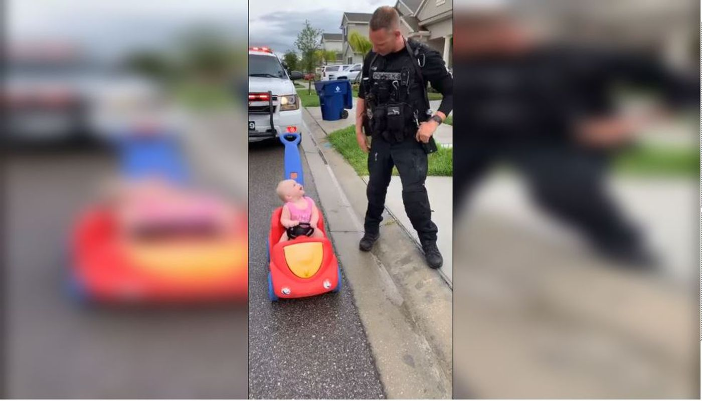 """VIDEO: Police officer dad """"pulls over"""" adorable 10-month-old daughter"""