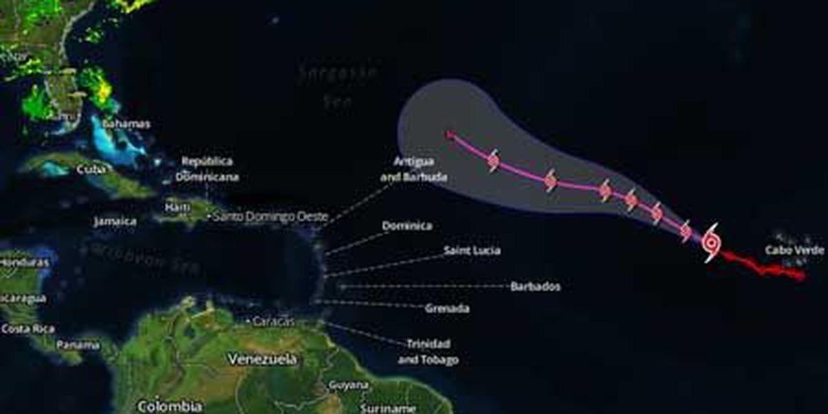 Tropical Storm Erin moving westward in Atlantic
