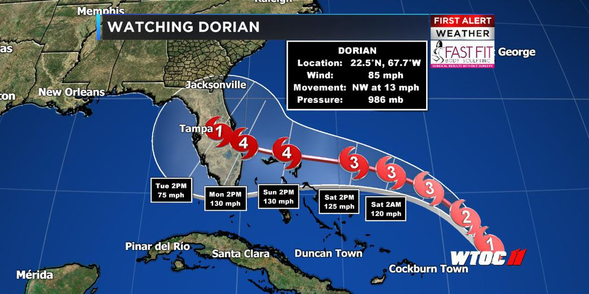 Hurricane Dorian slowing down; we may see days of rain