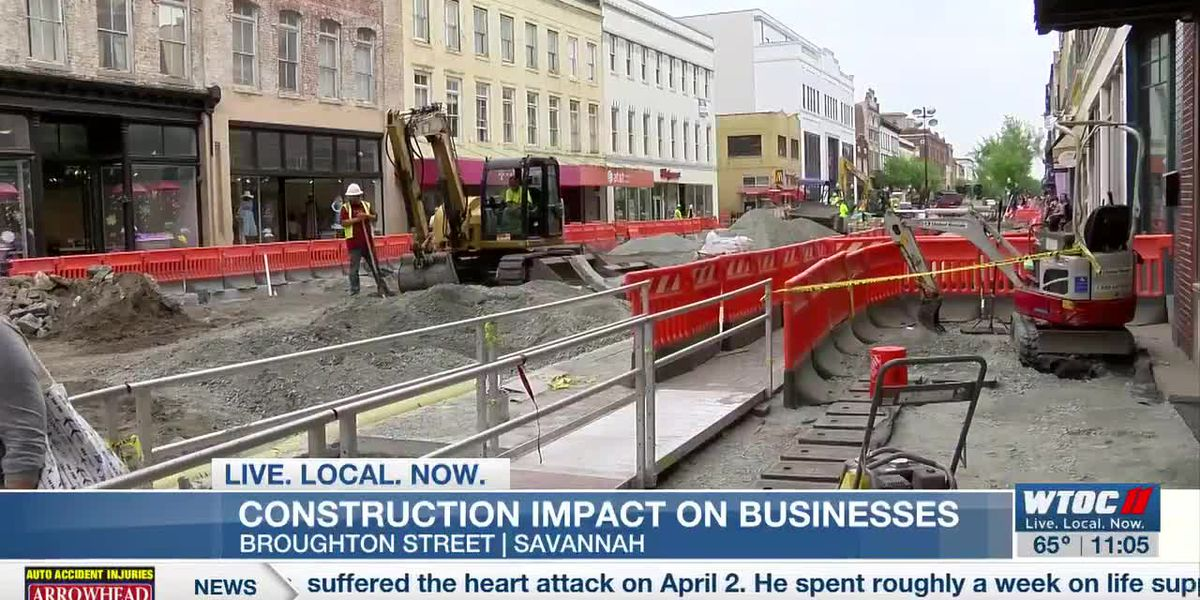 Construction impacting businesses on Broughton St.