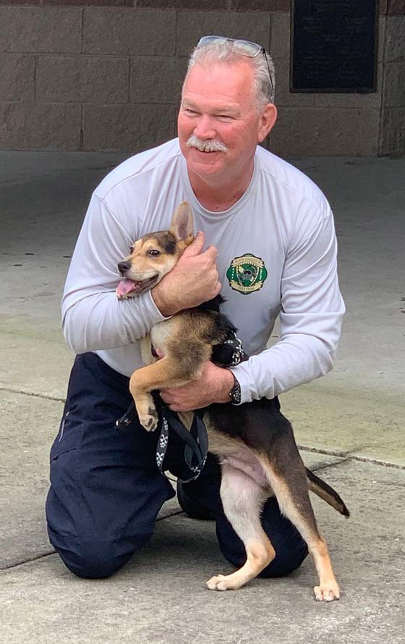 Firefighter adopts puppy he rescued from beneath pile of rocks