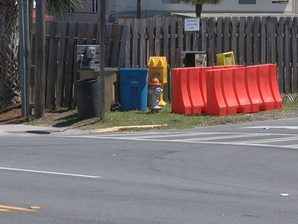 Traffic barriers in place on Tybee Island in anticipation of large crowds