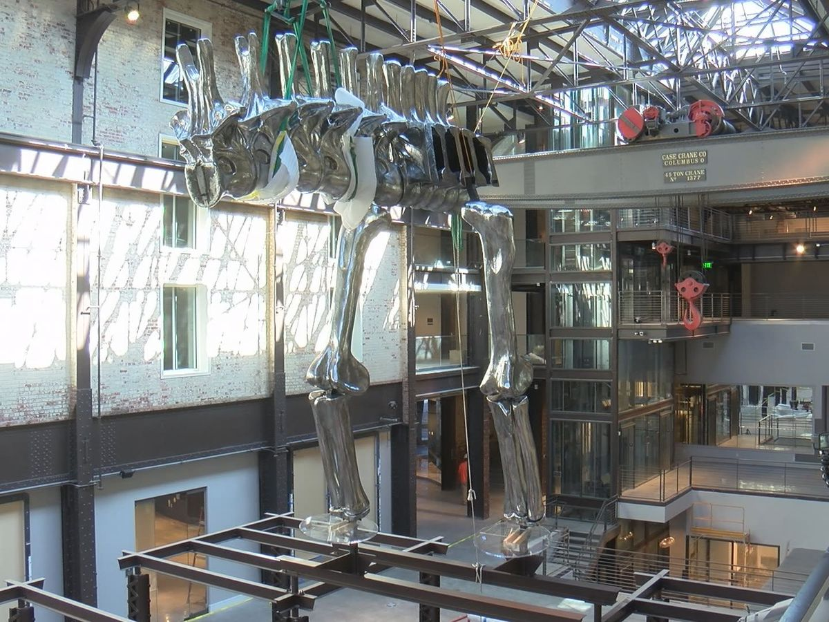 Chrome dinosaur replica at Plant Riverside District almost complete