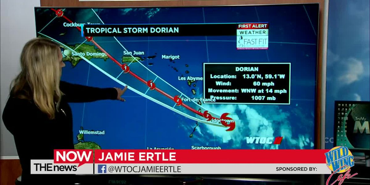 Scattered showers and storms in the forecast for tomorrow. Jamie's got a look at the tropics on The News Now.