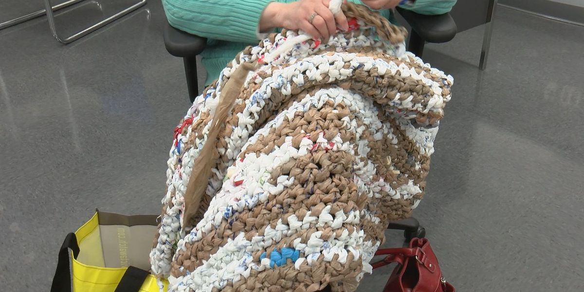 Project using plastic to make bedding for homeless