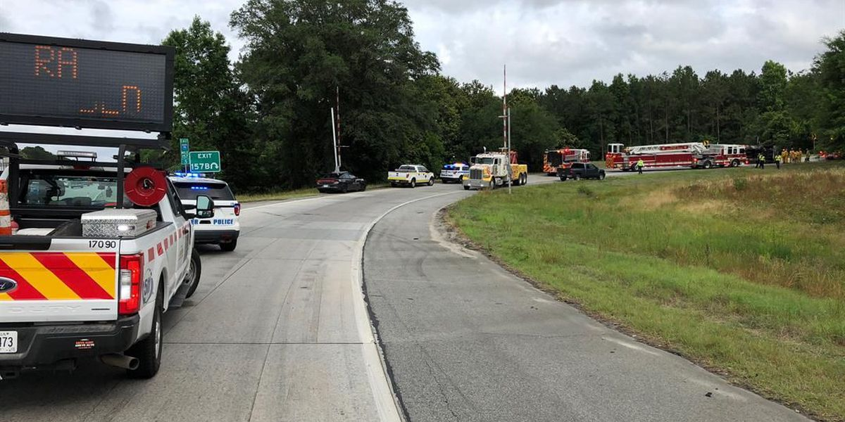 Driver taken to hospital after truck overturns on I-16 exit ramp