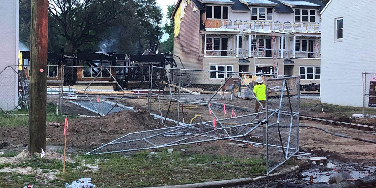Morning fire destroys apartment building under construction on Habersham St.