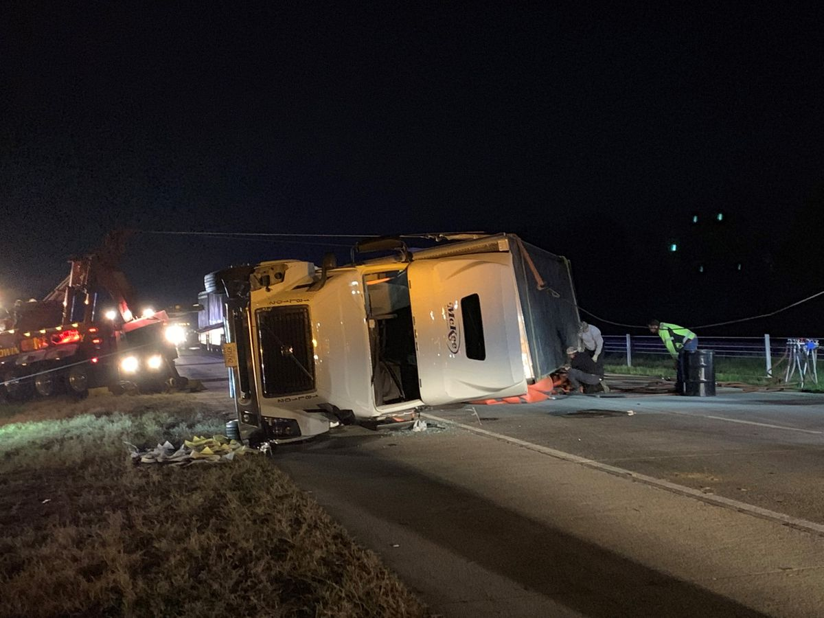 Semi carrying Little Debbie snacks overturns on I-16