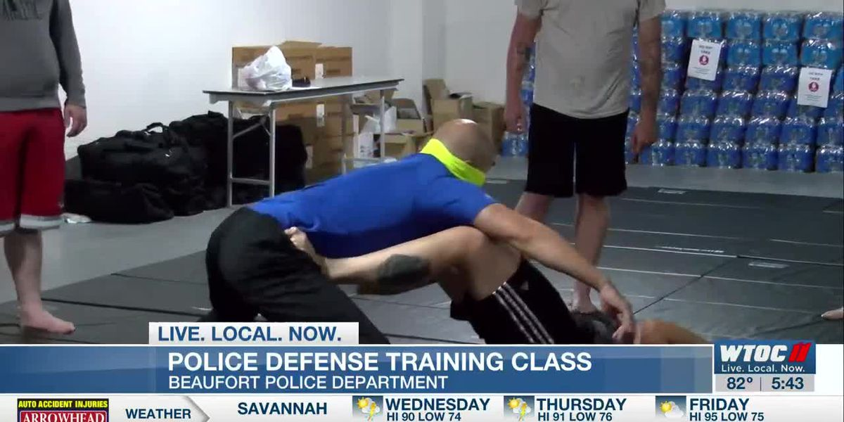 Beaufort officers learning new techniques during defense training classes