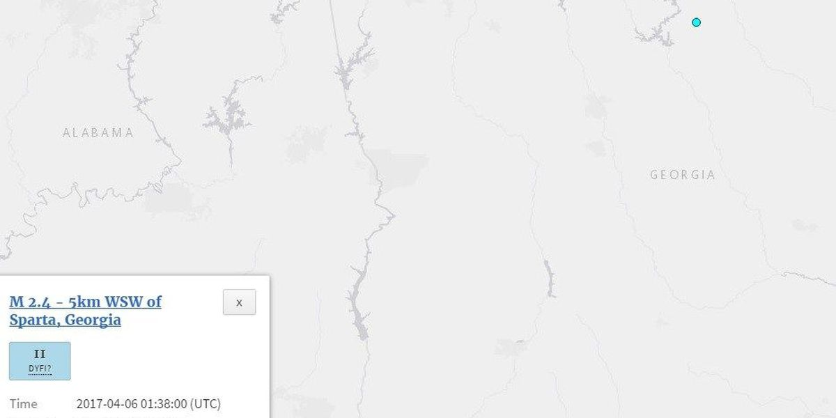 2.4 Richter Scale earthquake recorded east of Eatonton, GA