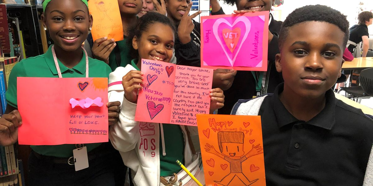 Students make valentine cards for 104-year-old WWII veteran