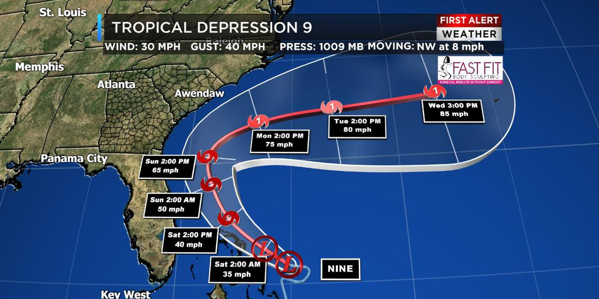 Tropical Depression 9 forms in the Atlantic Ocean