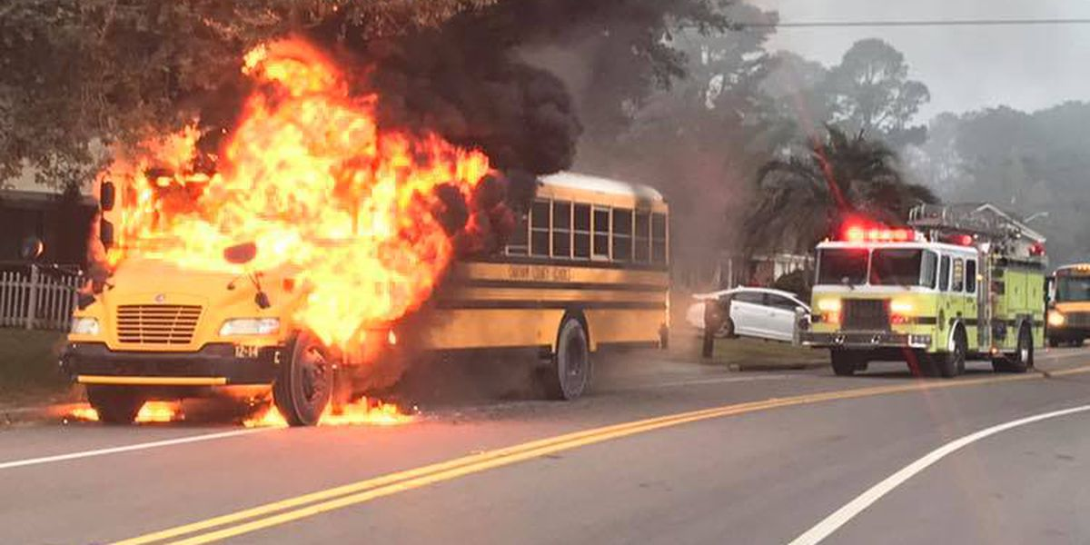 School bus erupts in flames during morning commute in Savannah