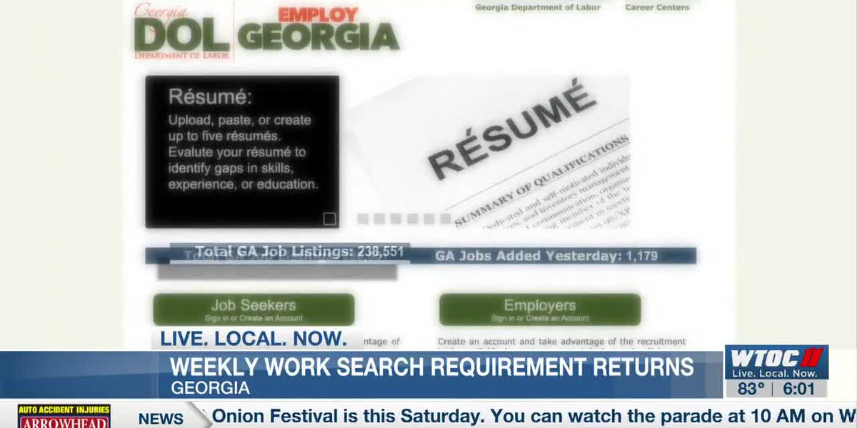 Weekly work search requirements return for Ga. unemployment
