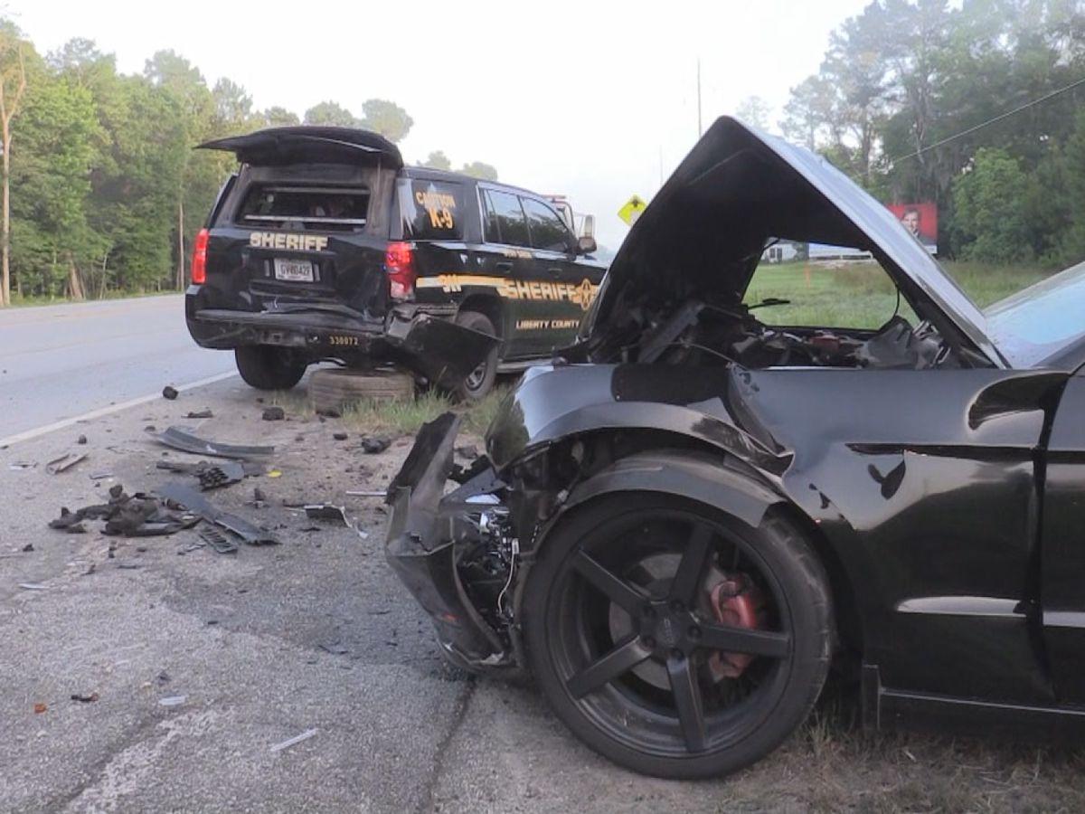 Liberty County deputy injured in car wreck