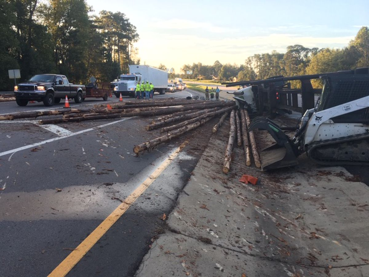 Overturned log truck closes Hwy 80 near GA Hwy 25 in Bulloch County