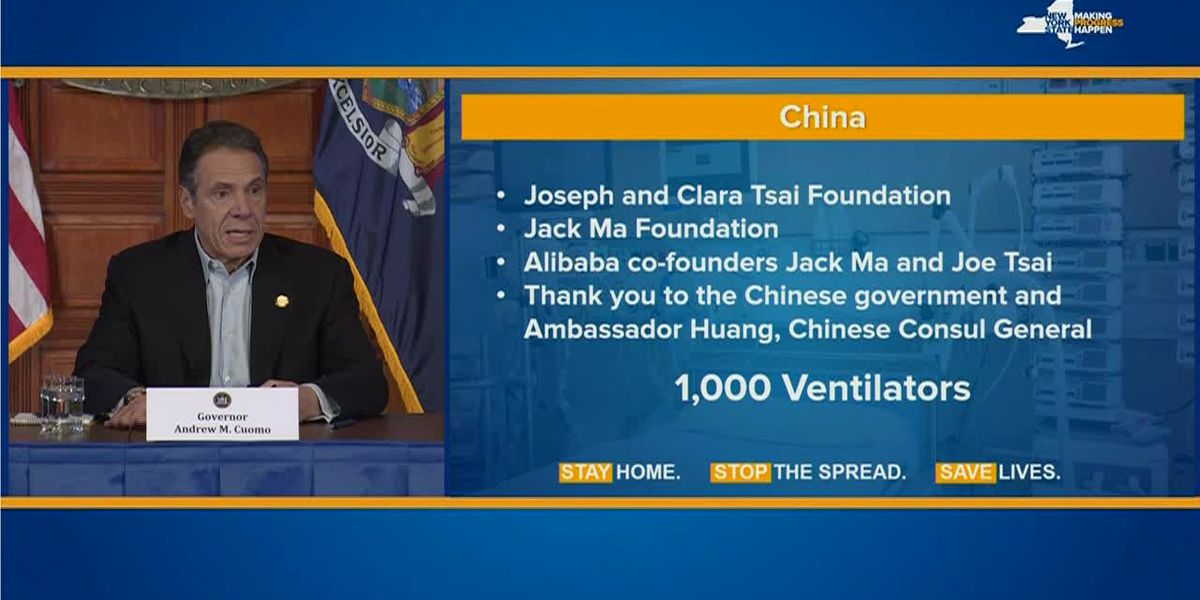 Gov. Cuomo: China donating 1k ventilators