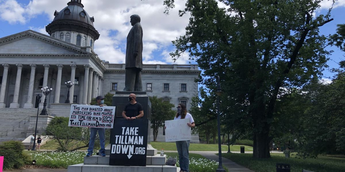 Protestors demand Tillman statue be removed from State House grounds