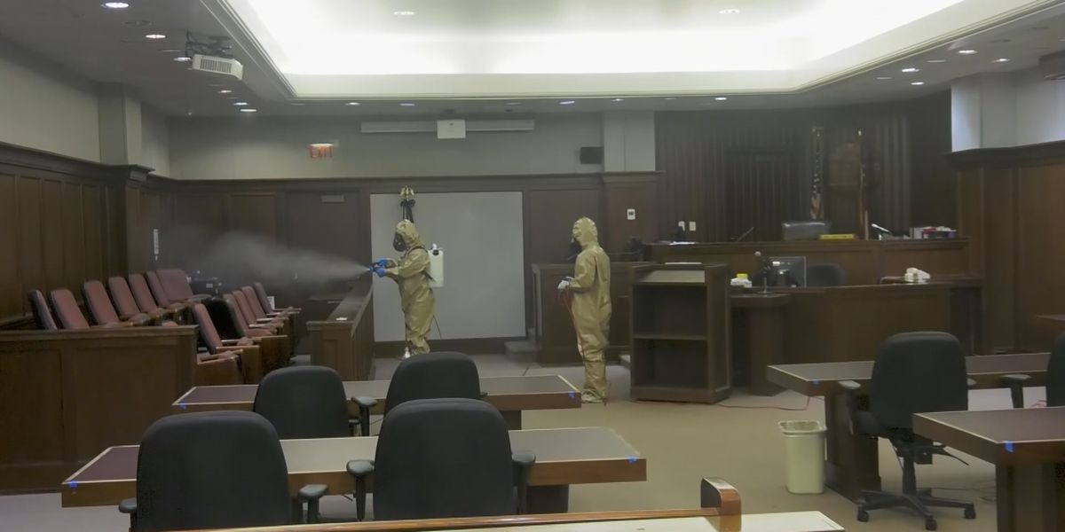 National Guard cleans and sanitizes Chatham County Courthouse