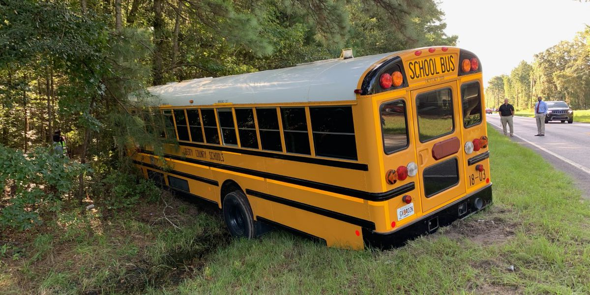 Two people sent to hospital after crash involving school bus in Liberty Co.; no students involved