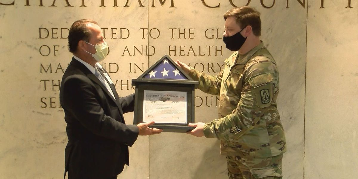 Hunter Army Airfield donates flag to Memorial Health
