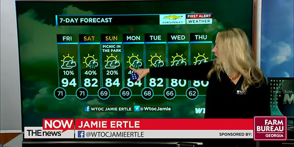 Last day of mid-90s for at least 10 days! WTOC Jamie Ertle's got your First Alert Forecast.